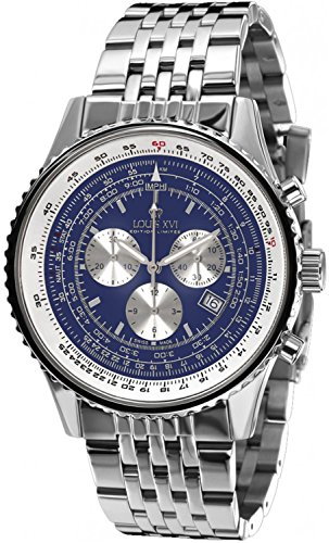 (Louis XVI Men's-Watch Artagnan l'acier l'argent bleu Swiss Made Chronograph Analog Quartz Stainless Steel Silver 581)