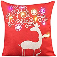 Christmas LED Lights Pillowcase, Litetao Throw Pillow Cover Sika Deer Printing Linen for Sofa, Coffee Shop, Library, Bookstore, Party, Club-45cmX45cm