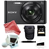 Sony DSCW830/B DSCW830 W830 20.1 Digital Camera with 2.7-Inch LCD (Black) + Case + 16GB SDHC/SDXC Memory Card + 5 Piece Deluxe Cleaning and Care Kit + DigitalAndMore PRO Accessory Kit