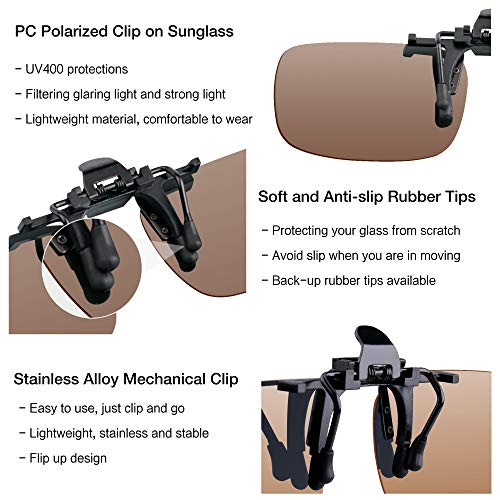 Splaks Clip-on Sunglasses, Unisex Polarized Frameless Rectangle Lens Flip Up Clip on Prescription Sunglasses Eyeglass, 2-Piece Clip on Glasses (1 Brown & 1 Yeallow) by Splaks (Image #2)