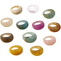 12 pcs Colorful Resin Rings Wide Thick Dome Knuckle Finger Stackable Joint Ring Retro Acrylic Transparent Vintage…