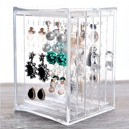 (HQdeal New Acrylic Earring Display Stand Organizer Holder Earring Studs Storage Clear)