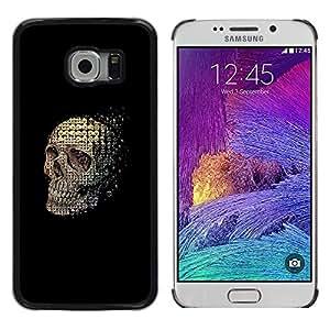 MobileHut / Samsung Galaxy S6 EDGE SM-G925 / Skull Abstract Meaning Black Death / Delgado Negro Plástico caso cubierta Shell Armor Funda Case Cover