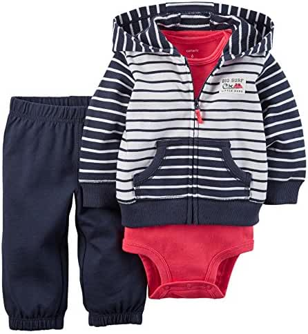 Carter's Baby Boys 3-Piece Short-Sleeve Safari Bodysuit, Navy/White Stripe, 9 Months