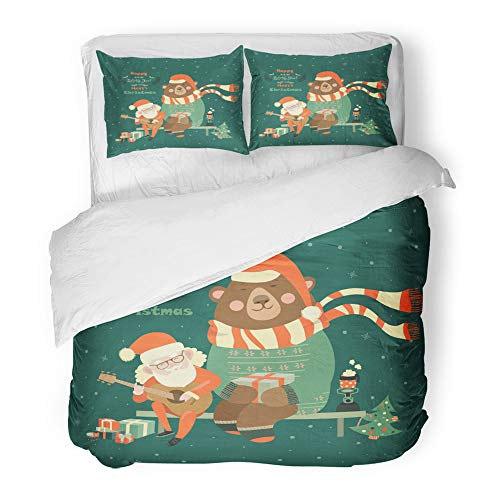 Emvency Decor Duvet Cover Set Full/Queen Size Red Christmas Santa Claus is Playing Guitar for The Bear Animal 3 Piece Brushed Microfiber Fabric Print Bedding Set Cover