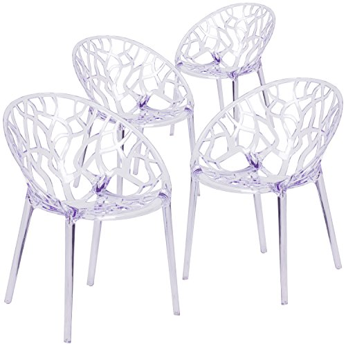 Flash Furniture 4 Pk. Specter Series Transparent Stacking Side Chair