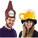 Tigerdoe Beer Hats - 2 Pack - Beer Mug Hat - Beer Bottle Hat - Adult Party Hats - Couples Costumes