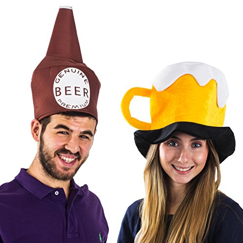(Tigerdoe Beer Hats - 2 Pack - Party Hats for Adults - Beer Mug Hat - Beer Bottle Hat - Couples)