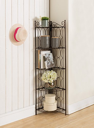 Kings Brand Furniture Brushed Copper Metal 5 Tier Shelf Corner Rack Unit (Rack Bakers Copper)