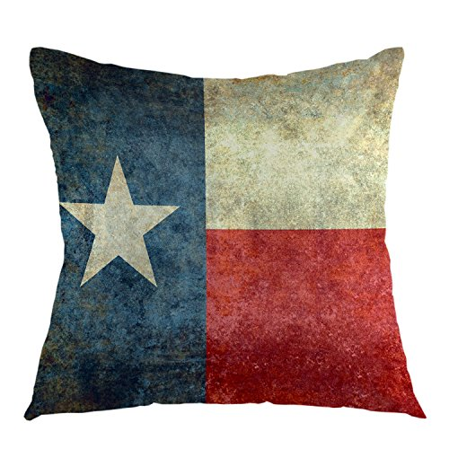Flag Throw Pillow Cover Square Vintage Cushion Covers American Flag Pillow Case For Couch Sofa Home Bedroom Decorative 18 x 18 Inch Blue Red Yellow ()