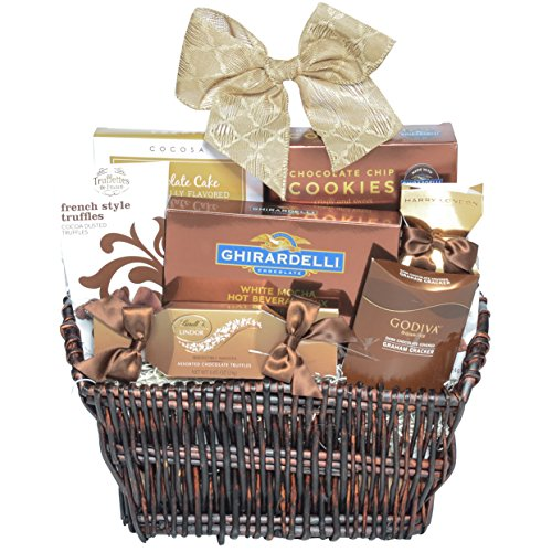 Gourmet Chocolate Assortment Gift Basket with ONLY brand names. Includes: Godiva Dark, Truffettes de France, Cocosa Chocolate Cake, Ghirardelli Chocolate, Lindt.