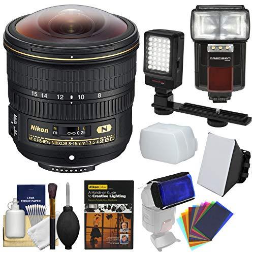 .5E ED AF-S Fisheye-Nikkor Lens with Flash + Video Light + Soft Box + DVD + Kit ()