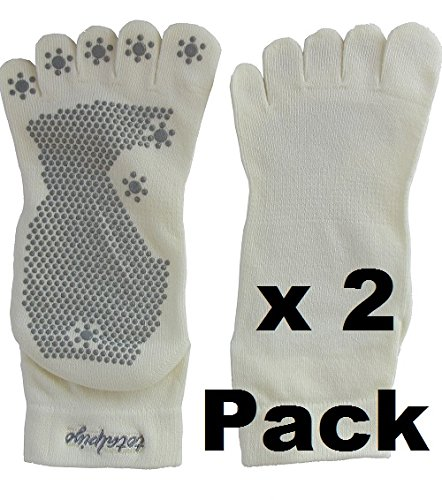 Pack of 2 Silicone Dots Non-slip Yoga Toe Socks (Beige)