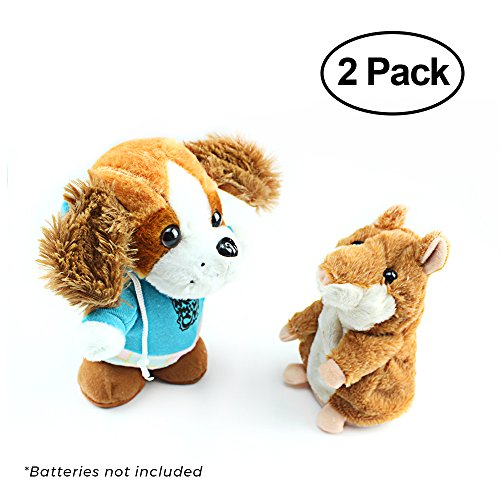Happy Hamster - WeFidget Talky Pet's Talking Hamster and Talking Dog Plush Toys, Talking recording interactive toy