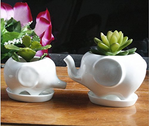 Elephant Pot (Animals Ceramic Flower pot 2 Styles Elephant Succulent Planter Cactus Succulent Plants Flower Cute White Pot (2 Elephants))