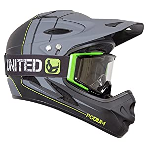 Demon Podium Full Face Mountain Bike Helmet Black with Black Supra Goggles