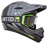 Demon Podium Full Face Mountain Bike Helmet Black with Black Supra Goggle (Large), Black/Green