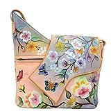 Anuschka Hand Painted Leather Women'S Small Asymmetric Flap Bag, Japanese Garden
