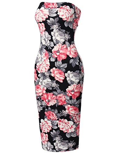 [Super Sexy Comfortable Floral Tube Top Bodycon Midi Dress Navy Pink S] (Sexy Valentine Outfit)
