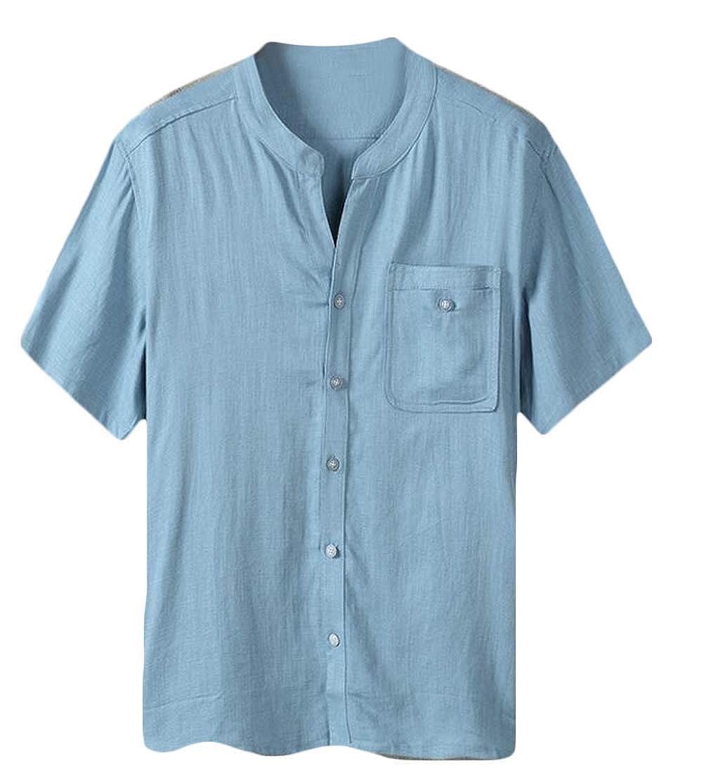 Pandapang Mens Summer Short Sleeve Linen Chinese Style Button Down Shirts