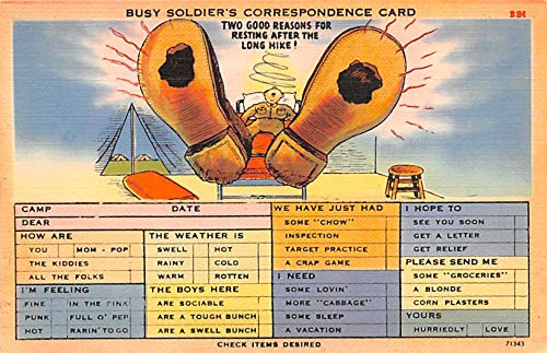 Military Comic Postcard, Old Vintage Antique Post Card Busy Soldier's Correspondence Card Unused