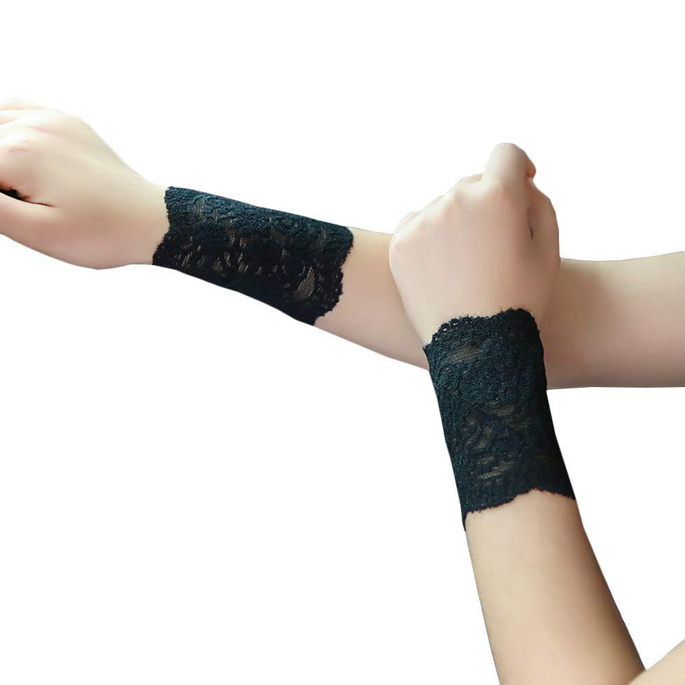 Women Lace Wrist Cuff Bracelet Floral Stretch Wedding Wristbands Tattoo Cover 2 Pcs Set Short Black