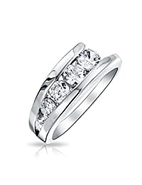 Cubic Zirconia Love Is A Journey AAA CZ Anniversary Wedding Band Ring For Women 925 Sterling Silver