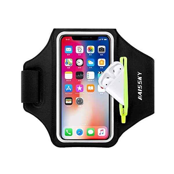 Brassard de Sport avec Poche Airpods, Brassard Sport pour iPhone 12 11 Pro XR XS X 8 7 6, Brassard Telephone Smartphone…