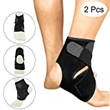 Ankle Brace Adjustable Breathable Sports Black Running Basketball Health Ankle Support Protector for Women and Men (2Pcs-black)
