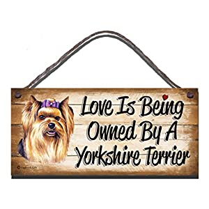 Gigglewick Gifts Yorkshire Terrier Wooden Funny Sign Wall Plaque Gift Present Love is Being Owned by A Yorkshire Terrier 2