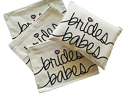 Bridal Party Toiletry Makeup Bag - Brides Babes - 4 PACK - Bachelorette Gifts -