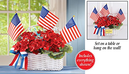 Fiber Optic Patriotic Floral Geranium Basket