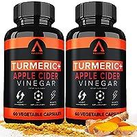 Turmeric Curcumin Capsules Bioperine 1650mg Supplements with Apple Cider Vinegar Black Pepper Ginger Extract, Tumeric...