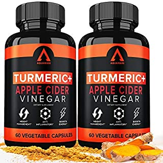 Turmeric Curcumin Capsules Bioperine 1650mg Supplements with Apple Cider Vinegar Black Pepper Ginger Extract, Tumeric Organic Powder Pills, Premium Joint & Healthy Inflammatory Support (2-Pack)