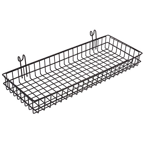 Openwork Basket (Kufox Wall Decor Sturdy Wire Wall/Wallgrid Mounted Basket/Flower Pots Shelf/Small Items Display Rack,Attach To Grid,Openwork Basket,Wall Mountable,For Railing Bench Patio Cubicle Office-Black)