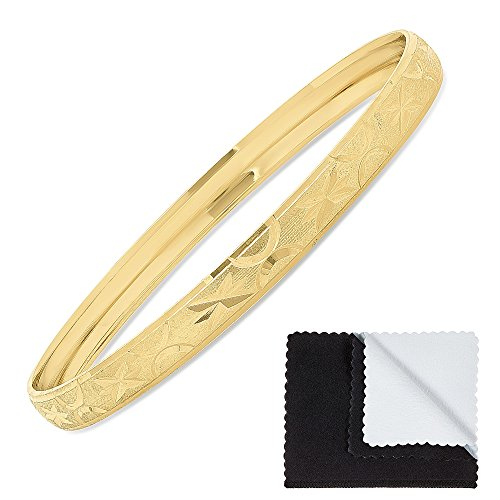 The Bling Factory Gold Plated Step Edged Bangle Bracelet w/Etched Stars & Moons, Circumference: 8.25