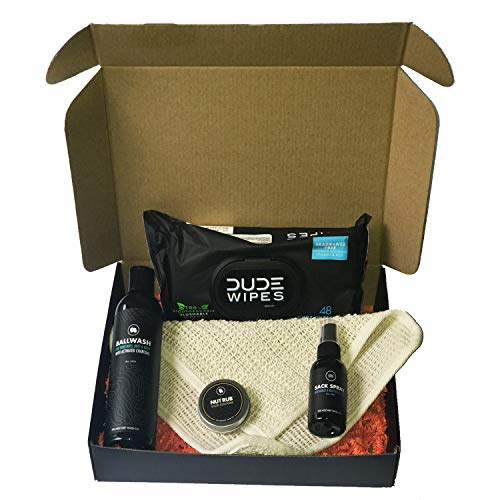 (Men's Sack and Ass Pack: Ballwash with activated charcoal, Sack Spray, Nut Rub, Dude Wipes and Sisal Cloth in Gift Box)