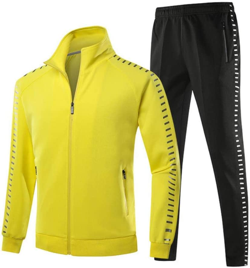 FHKGCD MenS Sportswear Set Spring Autumn Clothing Jogging Sets Sports Suit Jacket+Pant Full Suit Tracksuit