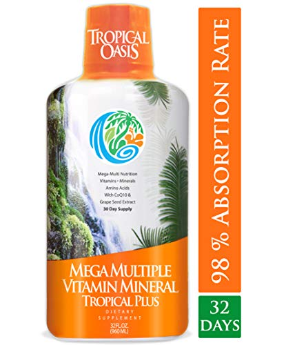 Tropical Oasis Mega Plus - Liquid Multivitamin and Mineral Supplement - Includes 85 Vitamins & Minerals, 20 Amino Acids + CoQ10, Grape Seed Extract & Organic Aloe Vera - 32oz, 32 Servings