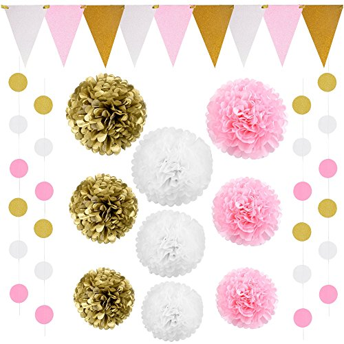 26 Piece Pink And Gold Party Supplies Decoration Kit   Large Sized Vintage Triangle Flags And Large 14  Pom Pom Tissues   Set The Perfect Stage For Baby Shower  1St Birthday  Wedding  Girls Decor