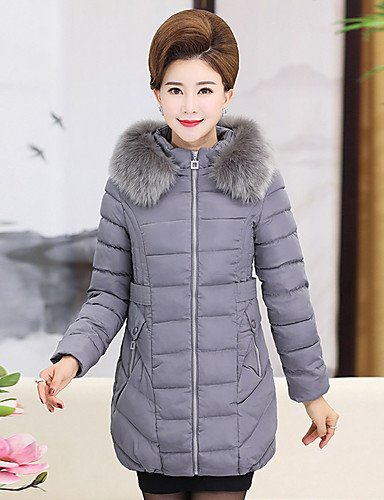 Cute Out Casual Coat Padded ZHUDJ Cotton Vintage Women'S Size Polypropylene Camouflage Solid Plus Gray Cotton Simple XL Going Polyester Regular Daily wPqqxvEtY