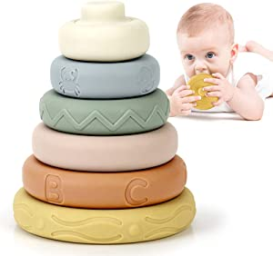 BOBXIN Stacking & Nesting Rings Toy, Soft Circle Stacker, 6 pcs Building Stacker,Teethers for Baby, Squeeze Play withLetter, Animal and Graphic, Toddler Learning Toys for 6 Month Old Boys Girls