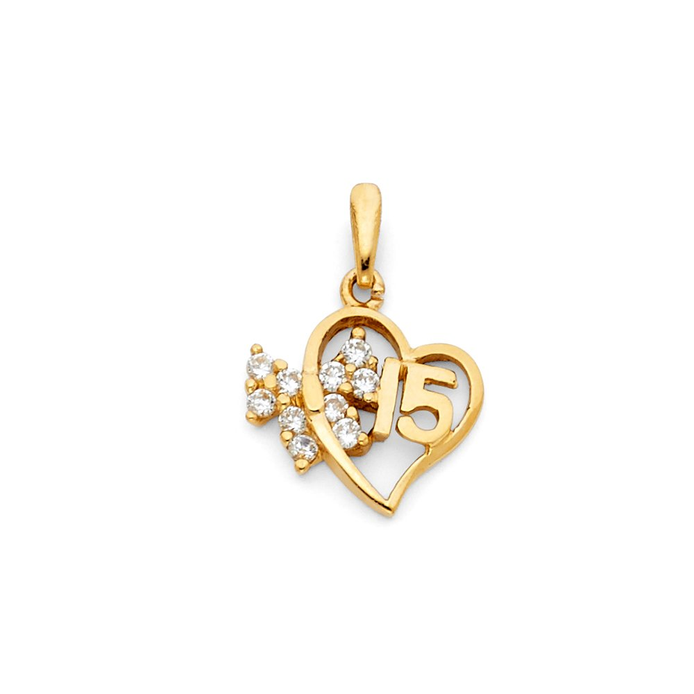 Accented with White CZ Stone Cluster 14k Yellow Gold 15 Years Birthday or Anniversary Small Heart Charm Pendant with 18 Rolo Chain 15mm x 15mm