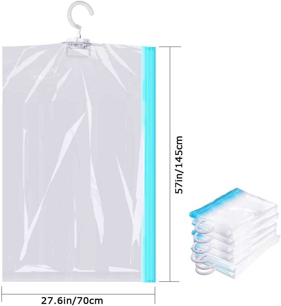 ,Vacuum Seal Clear Bags for Clothes 41x27in Suits Dress or Jackets Fullplus Hanging Vacuum Space Saver Bags Closet Organizer Storage Bags Set of 6