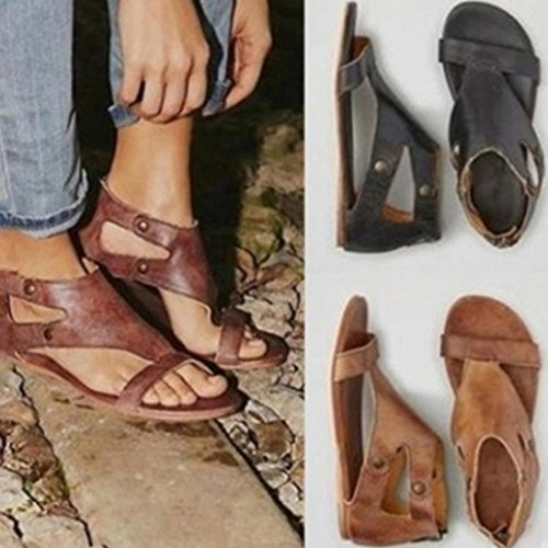 Baomabao Ladies Flat Rivets Sponge Sandals Roman Shoes Summer Women Fashion Casual Coffee