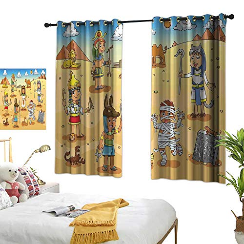 """WinfreyDecor Cartoon Thermal Insulated Drapes for Kitchen/Bedroom Historical Egypt Characters with Pyramids Cleopatra King Mummy Child Design Image 63"""" Wx45 L, Privacy Protection"""