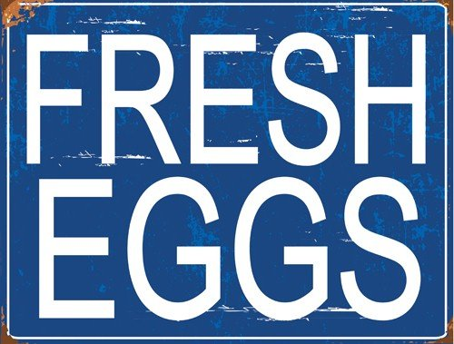 Tin Feed Sign Store (Sun Protected Blue Fresh Eggs Metal Sign, Guaranteed not to fade for 4 years, Contemporary Farm, Kitchen, Barn, Feed Store Decor)