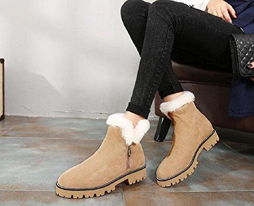 Inverno cotone scarpe donna spessa suola neve stivali breve tubo Martin Boots , khaki , 39
