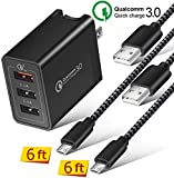 BEST4ONE (3in1 Pack) Adaptive Fast Charger for Samsung Galaxy S7 /S6 /Edge Note 4/5, LG G3/G4, Android Phones (2 Micro USB Cable 6ft + 3-Port Fast Charging Quick Charge 3.0 Wall Plug) Black