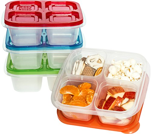 EasyLunchboxes 4-Compartment Snack Box Food Containers, Set of 4, Classic by EasyLunchboxes (Image #3)